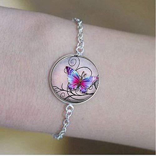 Exquisito púrpura mariposa arte pulseras abridores cristal antiguo pulseras