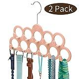 ManGotree 11 Agujeros Velvet Bufanda Perchas 2 Pack (Rosado)