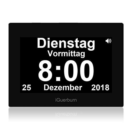 iGuerburn Digitale Sprechende Uhr Touchscreen Tageskalender Wecker für Senioren Ältere Demenz Alzheimer Gedächtnisverlust Sehbehinderte Blindheit (Schwarz, 20cm)