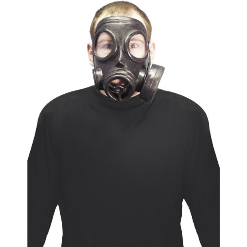 Smiffys Halloween Zubehör Maske Gasmaske schwarz gruselig zum Horror Kostüm