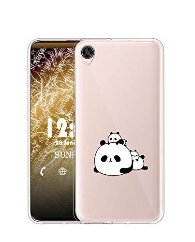 Sunrive Kompatibel mit Oppo R9 Plus Hülle Silikon, Transparent Handyhülle Schutzhülle Etui Hülle (TPU Panda 6)+Gratis Universal Eingabestift MEHRWEG