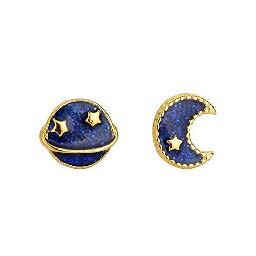 YAZILIND 925 plata esterlina azul estrellado cielo asimétrico Luna estelar aretes pendientes de moda pendientes de la mujer joyería