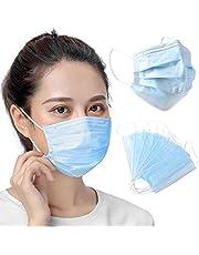Usohiral 50Pcs/Set Face Mask Reusable Masks 3-Layer Non-Woven Mask for Outdoor Sport, Blue