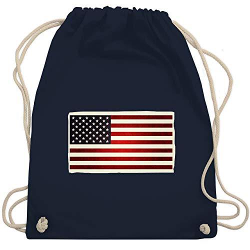 Shirtracer Kontinente - Flagge USA - Unisize - Navy Blau - usa turnbeutel - WM110 - Turnbeutel und Stoffbeutel aus Baumwolle
