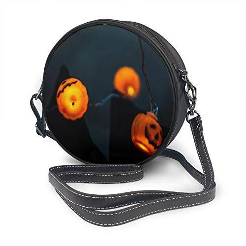 Guirnalda de calabaza Halloween iluminación bolsa de hombro redonda de cuero bolso...