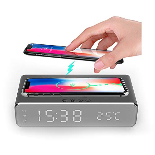 Hopkog LED Smart Alarm Clock Time Temperature Display Wireless Charging Pad Dock, 10W Qi-Certified for iPhone 11, 11 Pro Max, XR, Xs Max, XS, X, 8, 8 Plus, Galaxy S10 S9 S8, Note 10 Note 9 and More