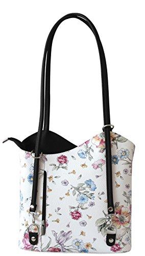 Rucksack Handtaschen 2 in 1 Damentaschen Ledertasche Lederrucksack Designer Luxus Henkeltasche mit Blumenmuster Tasche aus Echt Leder (Schwarz/Black)