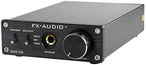 FX-AUDIO DAC-X6 Mini HiFi 2.0 Digital Audio Decoder DAC Input 24-bit/96KHzOptical/Coaxial/USB Headphone Amplifier/Stereo Audio Amplifier (Black)