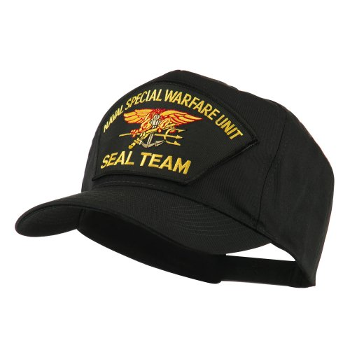 Navy Seal Team Large Patched Cap - Black Seal OSFM