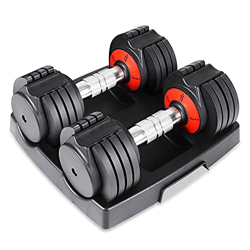 Dripex 10-level Adjustable Dumbbells, 30 lb pair Dumbbell set for Men and Women with Anti-Slip Metal Handle, Fast Adjust Weight by Turning Handle for Full Body Workout Fitness