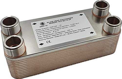 """Edelstahl Wärmetauscher Plattenwärmetauscher NORDIC Ba-16-24, 100kW, 24 platten, 1"""""""
