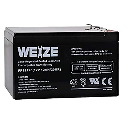 Weize 12V 12AH Sealed Lead Acid (SLA) AGM Deep Cycle Rechargeable 12 Volt 12 Ah/Amp Hour Mobility Scooter Battery