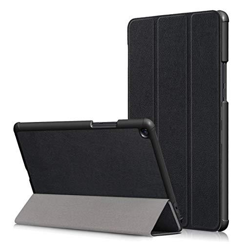 YANTAIAN Funda de Cuero con Textura Horizontal Custer para Xiaomi Mi Pad 4 Plus de 10.1 Pulgadas, con Soporte para Tres Pliegues y función de Reposo/Reposo (Color : Black)