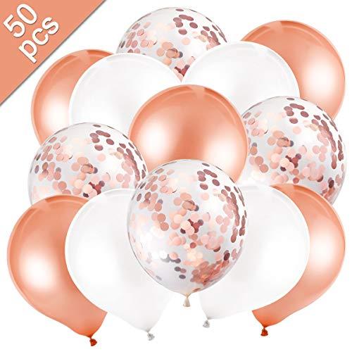 MELLIEX 50 Packungen Latex Luftballons mit Konfetti Luftballons für Hochzeit Birthday Party, Roségold und Weiß