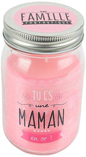 DITES LE AVEC DES MOTS MO0156 Bougie Mason Jar, Cire/Verre, Rose, 7,8 x 7,8 x 13,2 cm