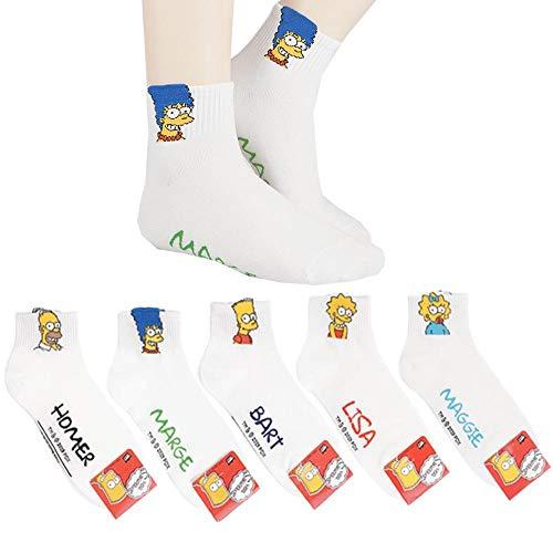 Die Simpsons Animation Comics Süß Beliebt Charakter Knöchel Socken 5 Paaren
