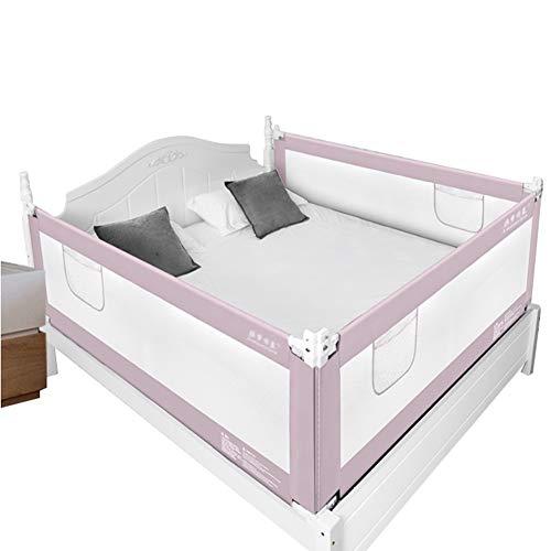 QIANDA Barrera Cama Niño Barandas para Camas 3 Lados Protección for Dormir Niñito Barrera De Guardia La Seguridad Elevación Vertical for Niños Twin, Doble (Color : Pink, Size : 1.8m+1.5m+1.8m)