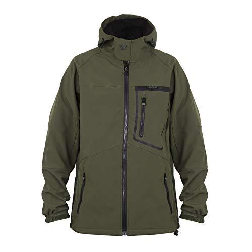 FOX Green Black Softshell Jacket - Angeljacke, Softshelljacke, Anglerjacke, Jacke zum Angeln, Regenjacke, Größe:S