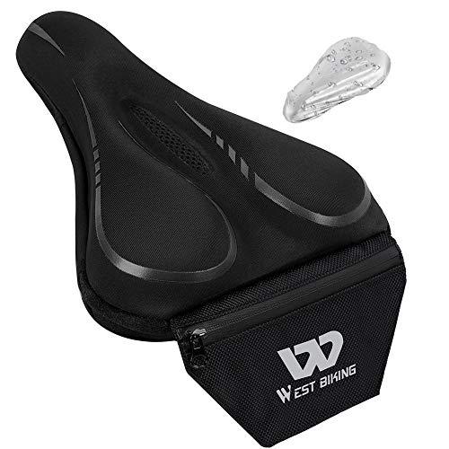 Funda para sillín de bicicleta con memoria de gel para asiento de bicicleta con innovador bolsillo trasero, antideslizante, cómoda almohadilla para bicicleta estática (funda impermeable incluida)