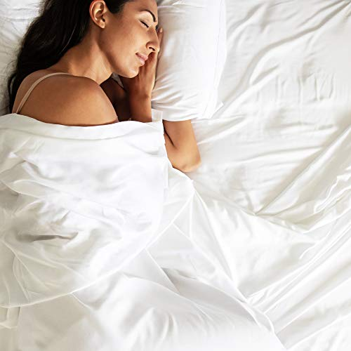 Bamtek 100% Bamboo Sheets Queen Size - Super Soft & Breathable - Cool Sheets for Hot Sleepers - 4 Piece Set - White