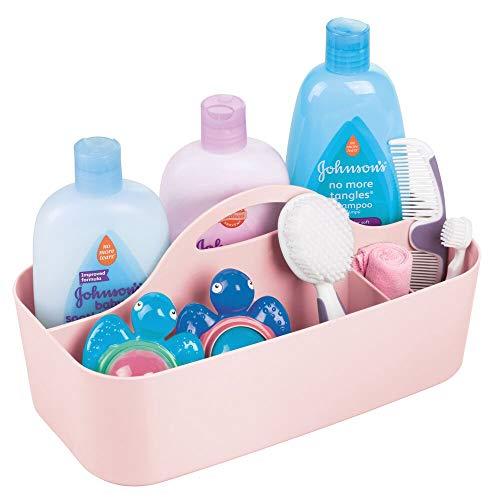 mDesign - Babykamerorganizer - mandje - voor het organiseren van flessen, lepels, slabbetjes, spenen, luiers, doekjes, babylotion - met handvat/gescheiden compartimenten/plastic/BPA-vrij - groot - lichtroze