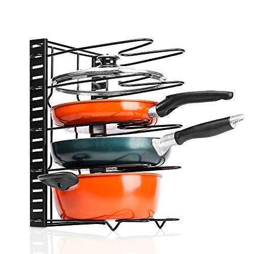 Baskiss estante organizador para sartenes, altura ajustable, soporte para utensilios de cocina de 5 niveles para almacenamiento de encimera