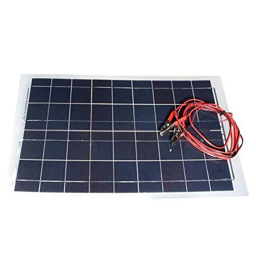 ouweish Panel Solar Flexible 12V 30W con Pinza cocodrilo portátil Cable para Barco y RV