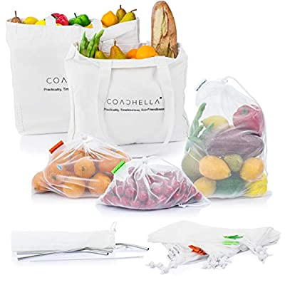 COACHELLA Reusable Produce Bags Set With 18 Mesh Produce Bags, 2 Cotton Reusable Grocery Bags & Metal Straw Set With 4 Reusable Straws, Cleaning Brush & Storage Bag - Zero-Waste Product Set - 24 PCS