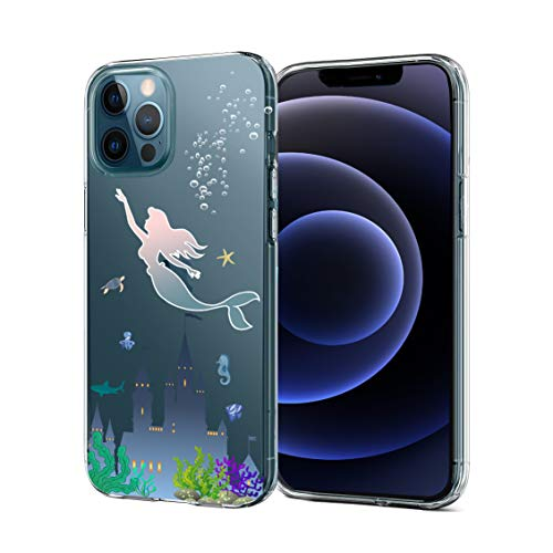 Unov Case Compatible with iPhone 12 / iPhone 12 Pro Case Clear with Design Slim Protective Soft TPU Bumper Embossed Pattern 6.1 Inch (Mermaid Castle)