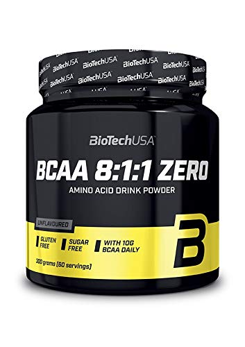 BioTech USA BCAA 8:1:1 ZERO polvere aromatizzata senza zucchero con maggiore contenuto di L-Leucina, 250g gusto TE' ALLA PESCA