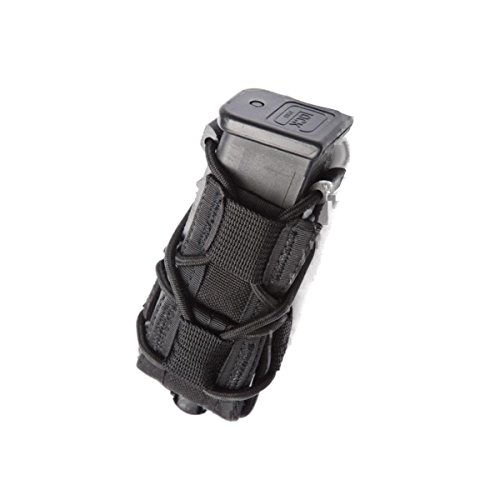 High Speed Gear Single Pistol Taco Mag Pouch | Universal Pistol Magazine Holster | Rapid Response and MOLLE Compatible (Black, One Pack)