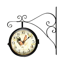 Decent Home European Antique Double Side Wall Clock 9 Inch Indoor/Outdoor Wrought Iron Decor Clock (Black)