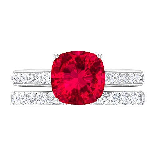 Juego de anillos solitarios, anillo de compromiso de piedra lateral, anillo de boda moissanita de oro blanco de 14 quilates rojo