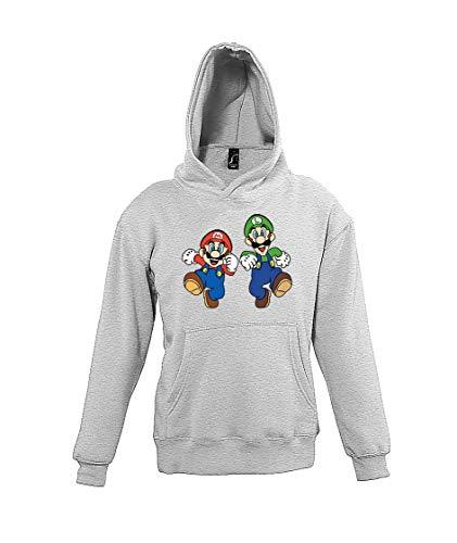 TRVPPY Kinder Hoodie Kapuzenpullover Mario & Luigi - Grau 118/128 (8 Jahre)