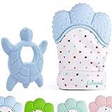Liname Baby Handschuh Zahnen Fäustlinge mit BONUS Beißring - Safe (BPA frei), waschbar und langlebig Zahnen Handschuh (Teething Mitten)