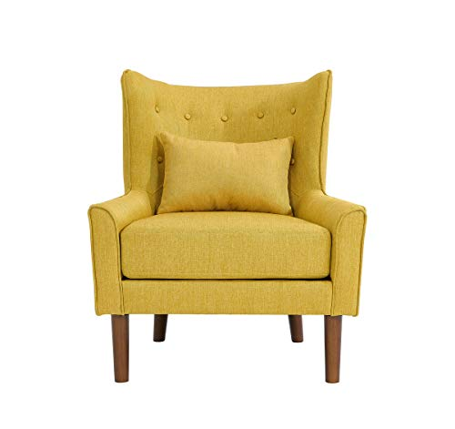 Unbekannt SalesFever Sessel Ohrensessel senfgelb Stoff Baumwollstoff, Polyester, Holz L = 78 x B = 82 x H = 89 senfgelb