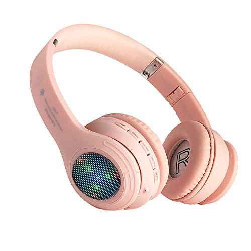 Kids Bluetooth Headphones, Girls LED Light Up Wireless Headset,85 dB Volume Limiting Foldable Headphones,Built-in Mic,Support FM Radio/Micro SD/TF,for Phone/Tablet/Pad/Kindle/Laptop/TV(Pink)