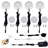 AIBOO LED Under Cabinet Lighting Kit,4X2W LED Puck Lights with RF Wireless Dimmable