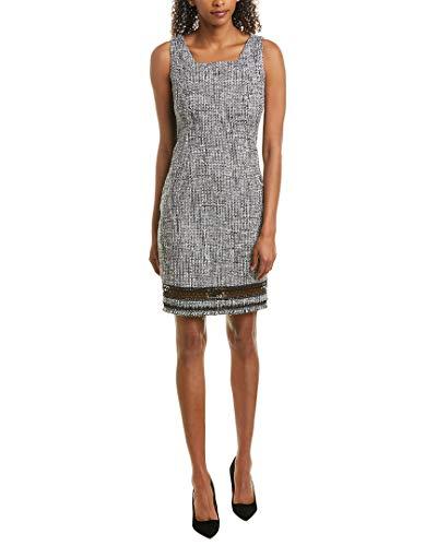 Elie Tahari Womens Leontine Tweed Sleeveless Sheath Dress B/W 2 Black/Grey