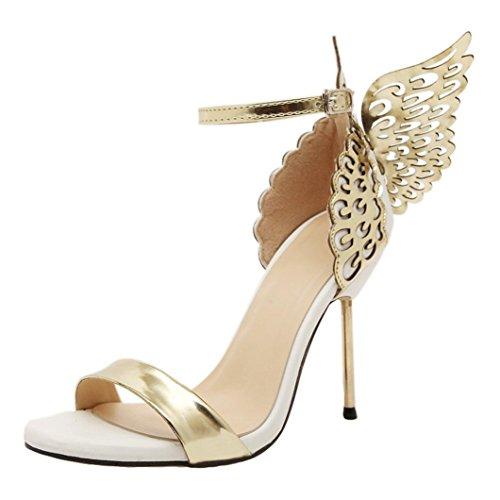 LANDFOX High Heels Sandalen Einzelne Schuhe Volltonfarbe Metall Flügel Stiletto Offene Spitze Mode Frauen Valentine Schuhe Bronzing Pailletten Große Bowknot Schuhe (39 EU, Gold)