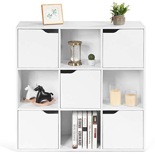 RELAX4LIFE Bücherregal mit 9 Fächern, Aktenregal mit 5 Magnettüren, Würfelregal bis 130 kg belastbar, stehender Raumteiler für Wohnzimmer & Studierzimmer & Kinderzimmer, Büroregal für Bücher (Weiß)