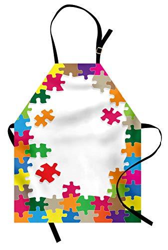 ABAKUHAUS Bordspel Keukenschort, Kleurrijke puzzel, Unisex Keukenschort met Verstelbare Nekband voor Koken en Tuinieren, Veelkleurig