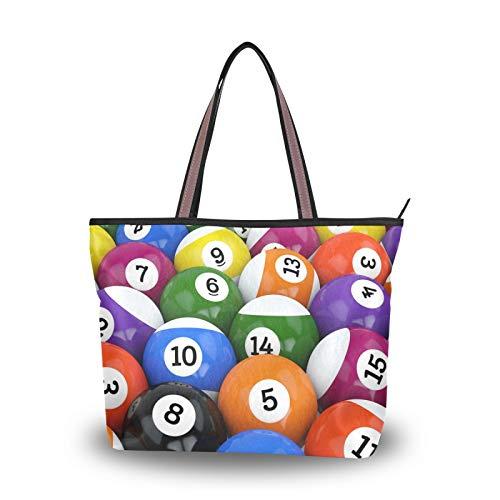 NaiiaN Bolso de compras para madres, mujeres, niñas, señoras, estudiantes, bolso de mano, bolsos de hombro, bolsos de mano, correa de peso ligero, bola, deporte, juego de billar, colorido