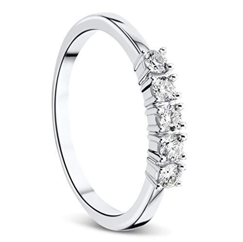 Orovi Damen-Ring Memoire HochzeitsringWeißgold 9 Karat (375) Brillianten 0.25 carat Verlobungsring Diamantring