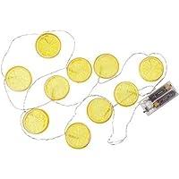 OOTB Guirnalda Rodajas de limón, con 10 luces LED, carbón, 7.5 x 12.5 x 8 cm