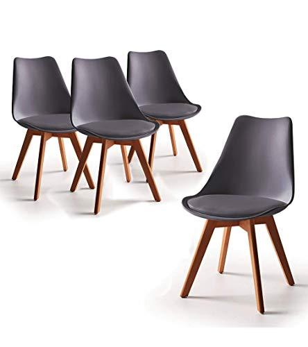 Home Heavenly - Pack de 4 sillas Comedor, Envio Desde ESPAÑA, Silla diseño nórdico con Asiento Acolchado, TULIPA en Blanco o Gris (Gris)