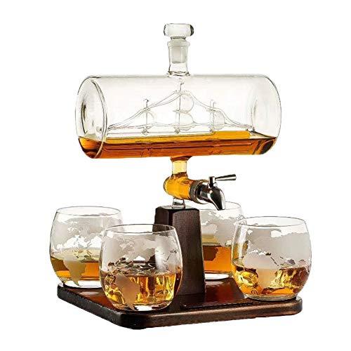 HOUSHIYU-521 1000ML Whisky Licorera Enviar Conjunto, con 4 Vasos De Whisky Y Soporte De Madera, Vidrio 100% Sin Plomo, Set De Regalos Perfectos para Licor, Escocés, Borbón, Vodka