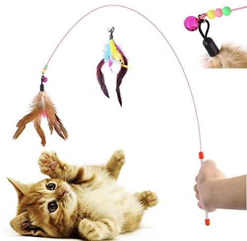 Diawell Katzenangel mit Glocke Angel Spielangel für Katzen Katzenspielzeug Katze Spielzeug Natur+Ersatzfeder