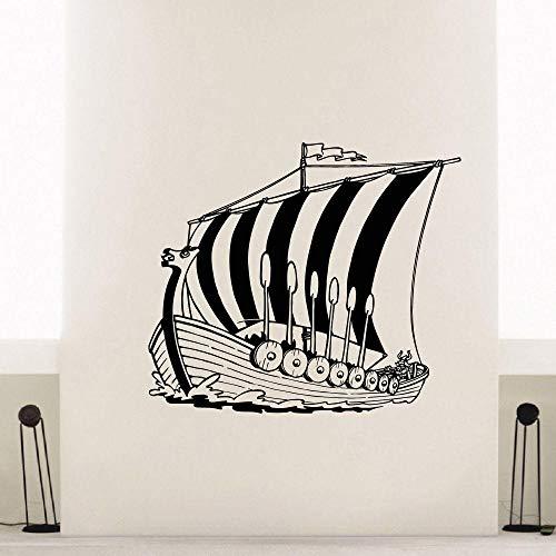 Decoración del hogar etiqueta de vinilo antiguo barco vikingo tatuajes de pared cartel mar océano estilo arte de la pared Mural etiqueta de vinilo para paredes 66 * 57 cm
