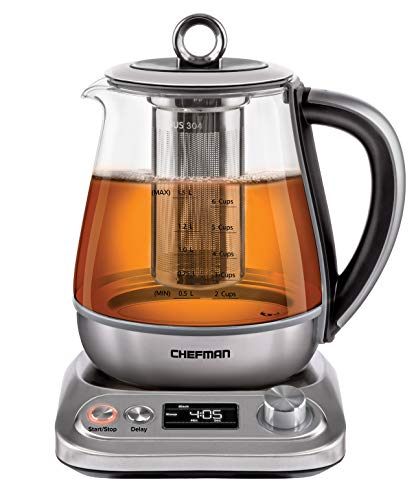 Chefman Digital Electric Glass Kettle, Removable Tea Infuser Included 8 Presets & Programmable Temperature Control, Auto Shutoff, Water Filter, 6+ Cup Capacity, 1.5 Liter
